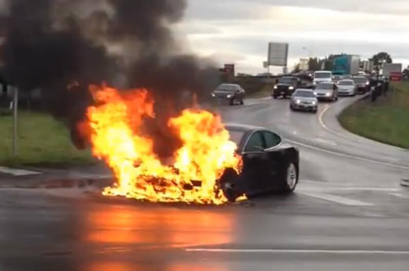 The safest car in America catches fire